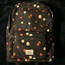 Fossil Ella Canvas Laptop Backpack Navy Blue Polka Dots Book Bag Nwt Photo