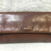 Fossil Ellis Brown Leather Tap Clutch Flap Wallet  Euc Photo