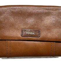 Fossil Ellis Multi Brown Sl7103200 Genuine Leather Flap Md Clutch Nwt Photo