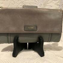 Fossil Ellis Tab Clutch Wallet Gray Leather(p) Photo