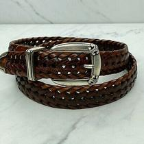 Fossil Embossed Braided Woven Leather Brown Belt Size Medium Womens Photo