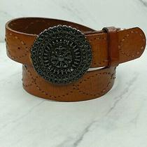 Fossil Embroidered Tooled Brown Leather Belt With Buckle Size Medium Womens Photo