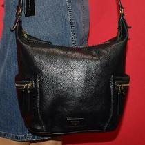 Fossil Emerson Black Pebbled Leather Cross-Body Hobo Bucket Shoulder Purse Bag Photo