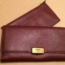 Fossil Emerson Clutch Leather Maroon Red Sl6659601 New Tags Photo