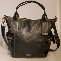 Fossil Emerson Medium Black Leather Purse Crossbody Messenger Bag Satchel Tote Photo