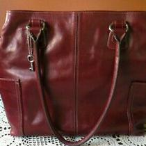 Fossil Emerson Red Wine Pebbled Leather Shoulder Laptop Purse/hand Hobo Bag Photo
