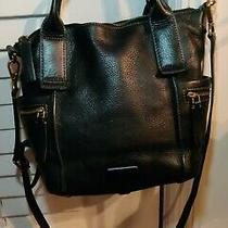 Fossil Emerson Small Black Leather Satchel Tote Purse Crossbody Messenger Bag Photo