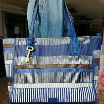 Fossil Emma Blue Stripe Print Large Shopper Tote Shoulder Bag Purse Photo
