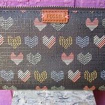 Fossil Emma Hearts Rfid Zip Around Wallet Clutch Sl7199 Excellent Photo