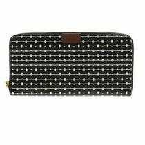 Fossil Emma Large Rfid Zip Accordion Wallet Clutch Wristlet Black White Card New Photo