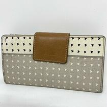 Fossil Emma Rfid Clutch Tab Wallet (Canvas Leather Grey & White) Photo