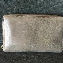 Fossil Emma Smartphone Clutch Wallet Rose Gold Metallic Leather Fits Iphone 6  Photo