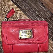 Fossil Emory Clutch Leather Wallet Organizer Lipstick Coral Goldtone Hardware Photo
