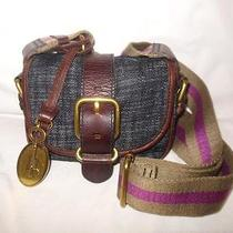 Fossil Emory Denim and Leather Small Flap Shoulder Bag Crossbody Bag Photo