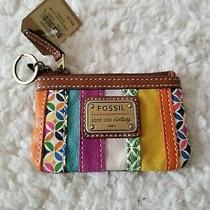 Fossil Emory Leather Zip Coin Wallet Purse Stripe Multicolor Gold-Tone Hardware Photo