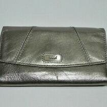 Fossil Envelope Pewter Genuine Leather Tri-Fold Checkbook Wallet Organizer  Photo
