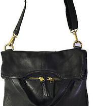 Fossil Erin Foldover Black  Soft Pebbled Leather Purse Handbag Tote Photo