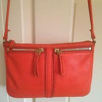 Fossil Erin Small Cross Body Bag in Orange Pebbled Leather  Photo