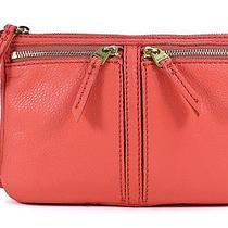 Fossil Erin Small Top Zip Watermelon Orange Leather Crossbody Shoulder Bag New Photo