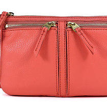 Fossil Erin Small Top Zip Watermelon Orange Leather Crossbody Shoulder Bag New Photo