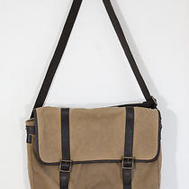 Fossil Estate Bag Canvas Brown Messenger Laptop Crossbody Mens Womens Unisex Photo