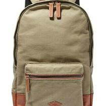 Fossil Estate Canvas Backpack Olive Green W/ Leather Trim - Laptop Sleeve Photo
