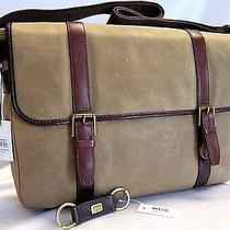 Fossil Estate East/west Messenger Bag Khaki Adjustable Canvas strap& Keyfob Nwt Photo