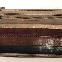 Fossil Explorer Brown Leather Circle Patchwork Flap Clutch Wallet Sl3899 Photo