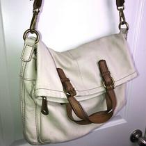 Fossil Explorer Cream Leather Crossbody Messenger Bag Multi Zip Foldover Large Photo