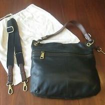 Fossil Explorer Crossbody Hobo Messenger Bag/purse Black Pebbled Leather Superb Photo