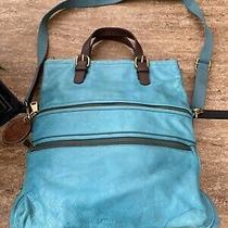 Fossil Explorer Foldover Aqua Blue Leather Crossbody Messenger Bag Photo