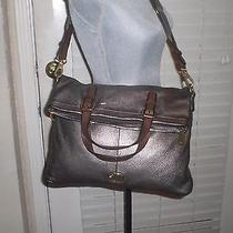 Fossil Explorer Foldover Crossbody Messenger Pewter Metallic Leather Tote Photo