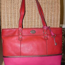 Fossil Explorer Hunter Shopper Tote Large Pink & Red Top Zip Handbag Purse Nwt Photo