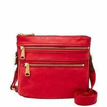 Fossil Explorer Leather Crossbody Real Red  Nwt  Photo
