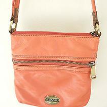 Fossil Explorer Orange Leather Small Cross Body Messenger Bag Euc Photo