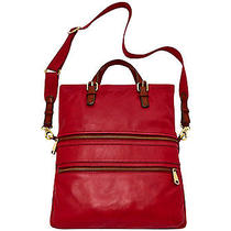 Fossil Explorer Ruby Wine Leather Foldover Tote Nwt 238 Photo