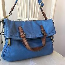 Fossil Explorer Women's Blue Soft Leather Fold Over Messenger Bag Excellent Photo