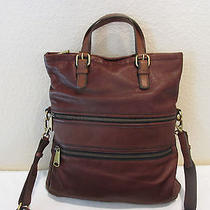 Fossil Explorerfoldover Shoulder Bag Purse Zb5258 Espresso Photo