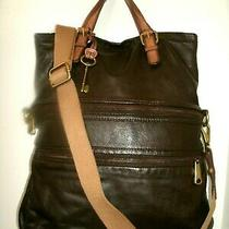 Fossil Exployer Very Nice Large Brown and Tan Glove Leather Crossbody Bag in Euc Photo