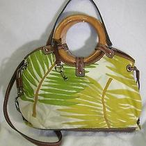 Fossil Fabric and Leather Satchel With Wood Handles Photo