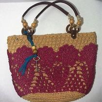 Fossil Faux Raffia Straw Crochet Tote Purse Photo