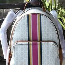 Fossil Felicity Backpack White Tan Signature Pink Stripe Shoulder Bag Tote 178 Photo