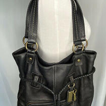 Fossil Fifty Four Black Pebbled Leather Tote Purse Shoulder Bag Large Photo