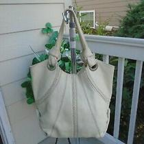 Fossil Fifty Four Ivory Leather Large Tote Shoulder Bag Photo