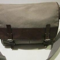 Fossil Flap Top Multicompartment Messenger Bag Brown Leather Trim Photo