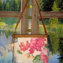 Fossil  Floral Canvas & Brown Leather Trim Hobo Tote & Signature Key Photo