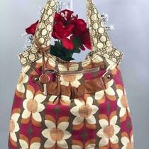 Fossil Florals Canvas W. Leather Trims Large Shoulder Tote Bag Photo