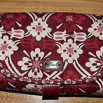 Fossil Flower Pattern Coated Canvas Makeup Toiletry Travel Jewelry Hanging Bag  Photo