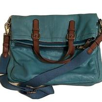 Fossil Foldover Turquoise Leather Crossbody Messenger Shoulder Bag Tote Photo