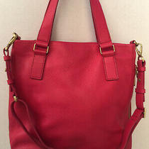 Fossil Fuchsia Pink Leather Preston Expandable Crossbody Shoulder Bag Purse Gold Photo
